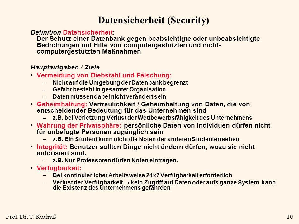 Prof. Dr. T. Kudraß10 Datensicherheit (Security) Definition Datensicherheit: Der Schutz einer Datenbank gegen beabsichtigte oder unbeabsichtigte Bedro