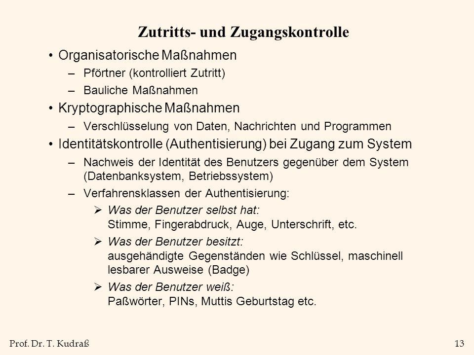 Prof. Dr. T. Kudraß13 Zutritts- und Zugangskontrolle Organisatorische Maßnahmen –Pförtner (kontrolliert Zutritt) –Bauliche Maßnahmen Kryptographische