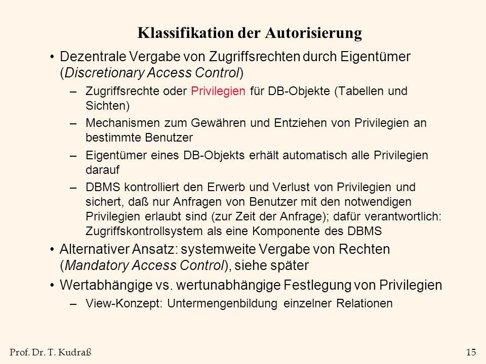 Prof. Dr. T. Kudraß15 Klassifikation der Autorisierung Dezentrale Vergabe von Zugriffsrechten durch Eigentümer (Discretionary Access Control) –Zugriff