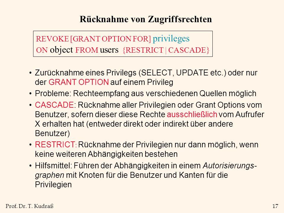 Prof. Dr. T. Kudraß17 Rücknahme von Zugriffsrechten Zurücknahme eines Privilegs (SELECT, UPDATE etc.) oder nur der GRANT OPTION auf einem Privileg Pro
