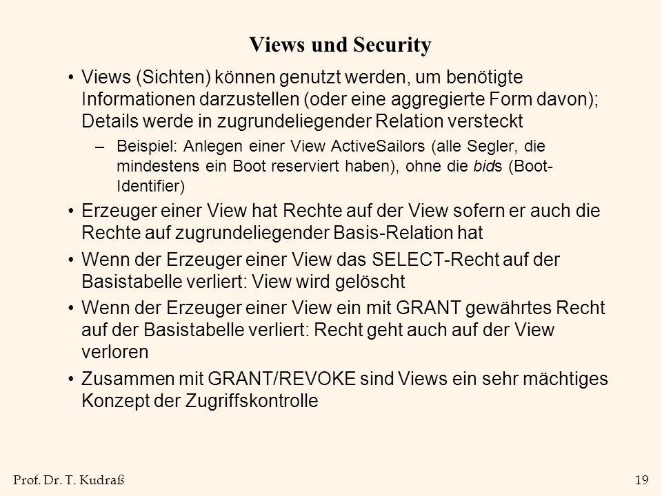 Prof. Dr. T. Kudraß19 Views und Security Views (Sichten) können genutzt werden, um benötigte Informationen darzustellen (oder eine aggregierte Form da