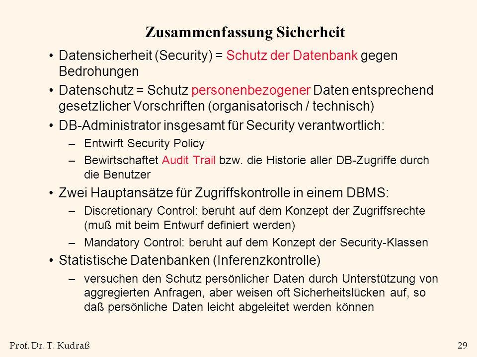 Prof. Dr. T. Kudraß29 Zusammenfassung Sicherheit Datensicherheit (Security) = Schutz der Datenbank gegen Bedrohungen Datenschutz = Schutz personenbezo