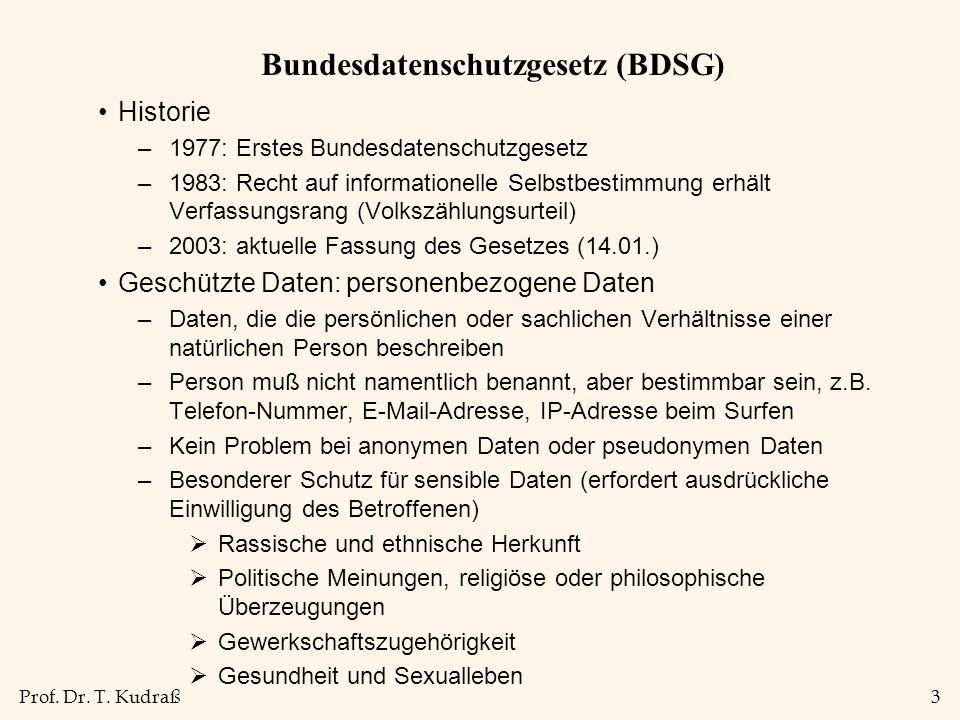 Prof. Dr. T. Kudraß3 Bundesdatenschutzgesetz (BDSG) Historie –1977: Erstes Bundesdatenschutzgesetz –1983: Recht auf informationelle Selbstbestimmung e