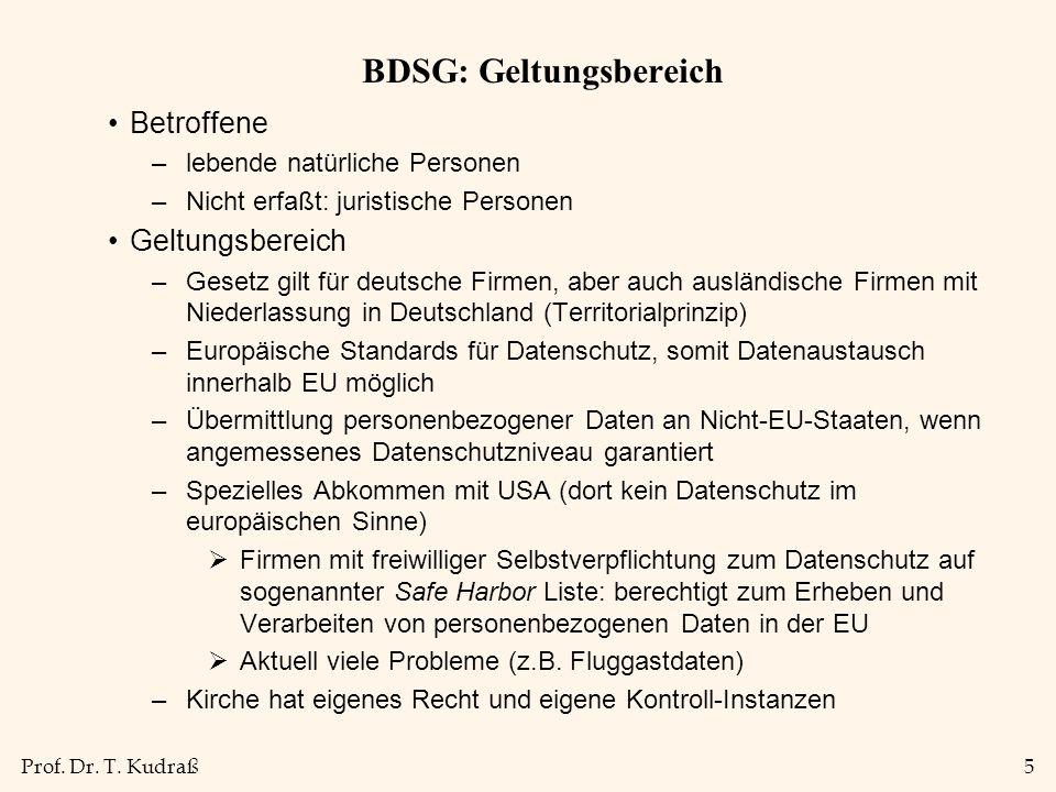 Prof. Dr. T. Kudraß5 BDSG: Geltungsbereich Betroffene –lebende natürliche Personen –Nicht erfaßt: juristische Personen Geltungsbereich –Gesetz gilt fü