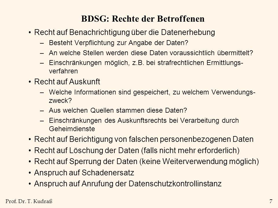 Prof. Dr. T. Kudraß7 BDSG: Rechte der Betroffenen Recht auf Benachrichtigung über die Datenerhebung –Besteht Verpflichtung zur Angabe der Daten? –An w