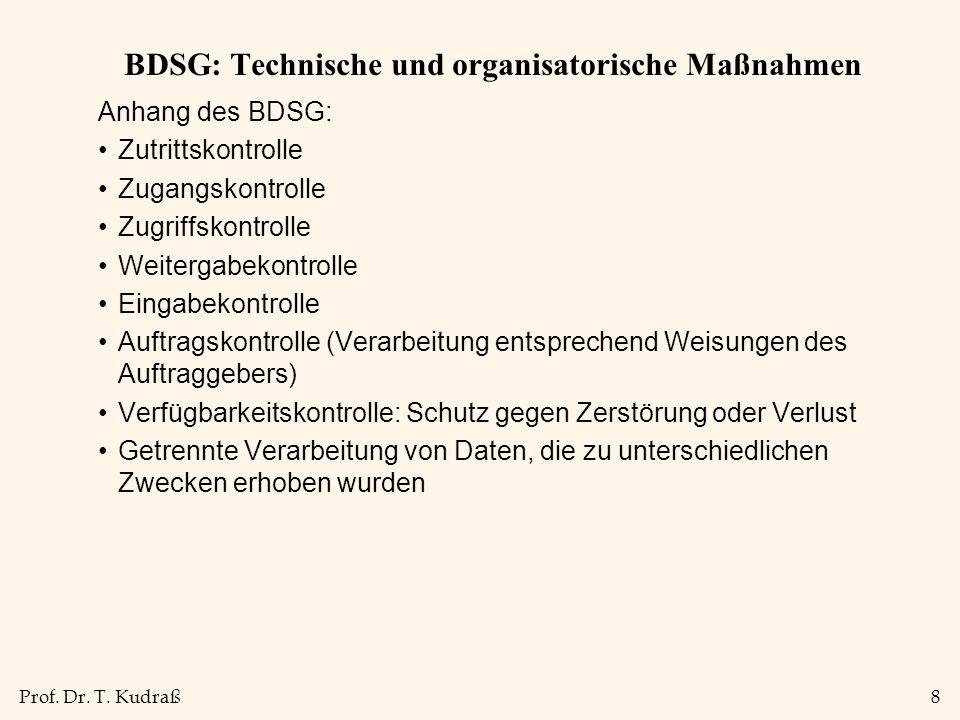 Prof. Dr. T. Kudraß8 BDSG: Technische und organisatorische Maßnahmen Anhang des BDSG: Zutrittskontrolle Zugangskontrolle Zugriffskontrolle Weitergabek