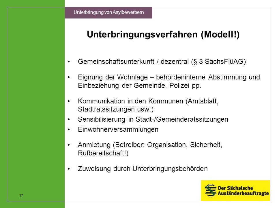 Unterbringungsverfahren (Modell!) Gemeinschaftsunterkunft / dezentral (§ 3 SächsFlüAG) Eignung der Wohnlage – behördeninterne Abstimmung und Einbezieh
