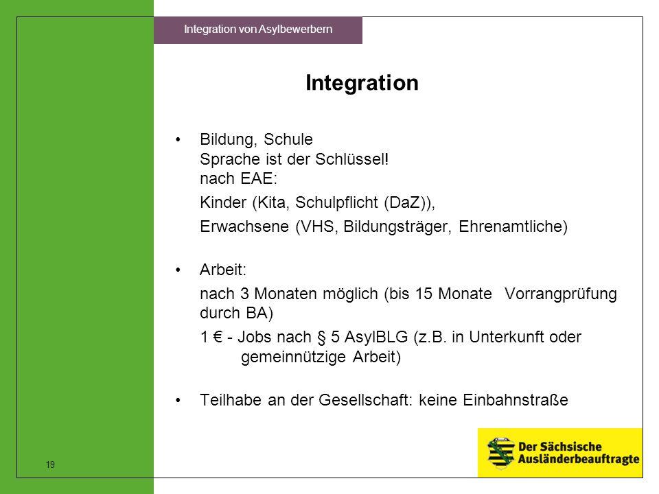 Integration Bildung, Schule Sprache ist der Schlüssel! nach EAE: Kinder (Kita, Schulpflicht (DaZ)), Erwachsene (VHS, Bildungsträger, Ehrenamtliche) Ar