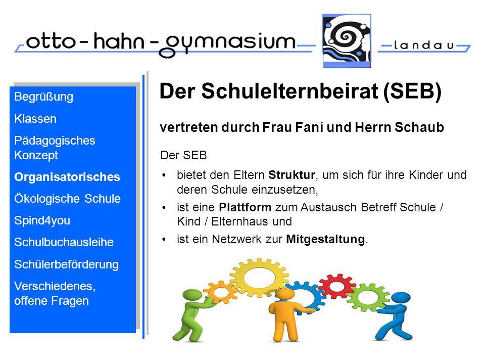 Der Schulelternbeirat (SEB) vertreten durch Frau Fani und Herrn Schaub Begrüßung Klassen Pädagogisches Konzept Organisatorisches Ökologische Schule Sp