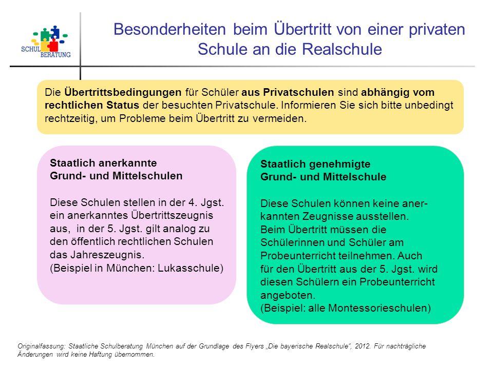 Besonderheiten beim Übertritt von einer privaten Schule an die Realschule Originalfassung: Staatliche Schulberatung München auf der Grundlage des Flye