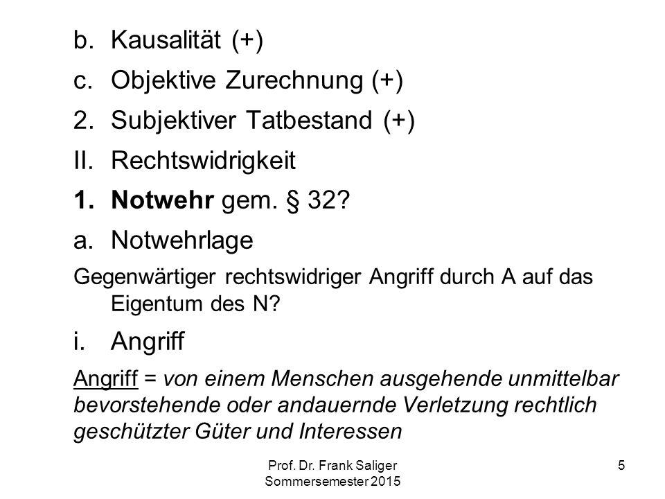 5 b.Kausalität (+) c.Objektive Zurechnung (+) 2.Subjektiver Tatbestand (+) II.Rechtswidrigkeit 1.Notwehr gem. § 32? a.Notwehrlage Gegenwärtiger rechts