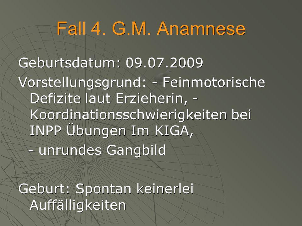 Fall 4. G.M. Anamnese Geburtsdatum: 09.07.2009 Vorstellungsgrund: - Feinmotorische Defizite laut Erzieherin, - Koordinationsschwierigkeiten bei INPP Ü