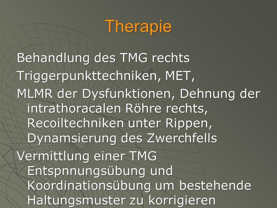Therapie Behandlung des TMG rechts Triggerpunkttechniken, MET, MLMR der Dysfunktionen, Dehnung der intrathoracalen Röhre rechts, Recoiltechniken unter