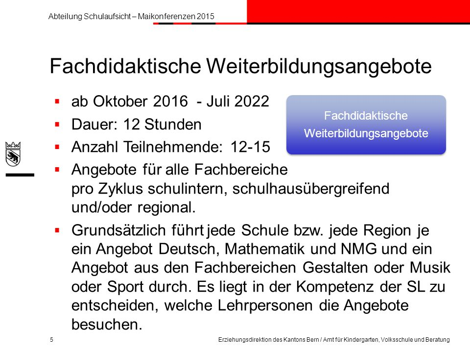 Abteilung Schulaufsicht – Maikonferenzen 2015 Sport in der Schule 16Erziehungsdirektion des Kantons Bern / Amt für Kindergarten, Volksschule und Beratung