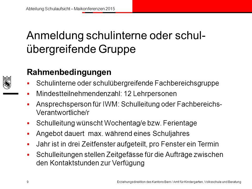 Abteilung Schulaufsicht – Maikonferenzen 2015 Erziehungsdirektion des Kantons Bern / Amt für Kindergarten, Volksschule und Beratung30 Infos Filme: erz.be.ch/kurzfilme Allgemein: erz.be.ch/dialog