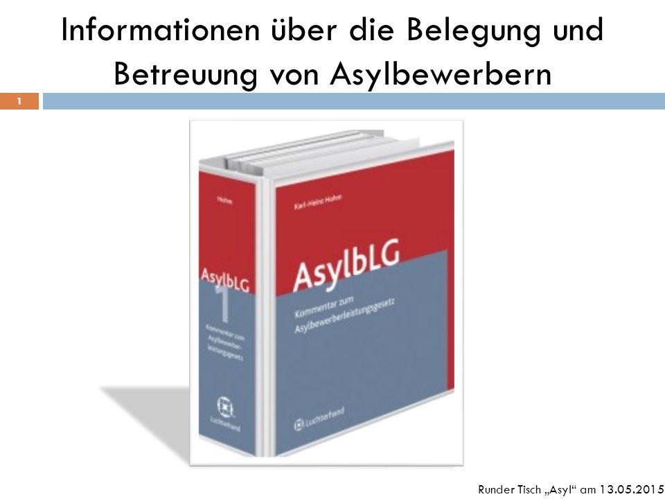 """Informationen über die Belegung und Betreuung von Asylbewerbern 1 Runder Tisch """"Asyl"""" am 13.05.2015"""