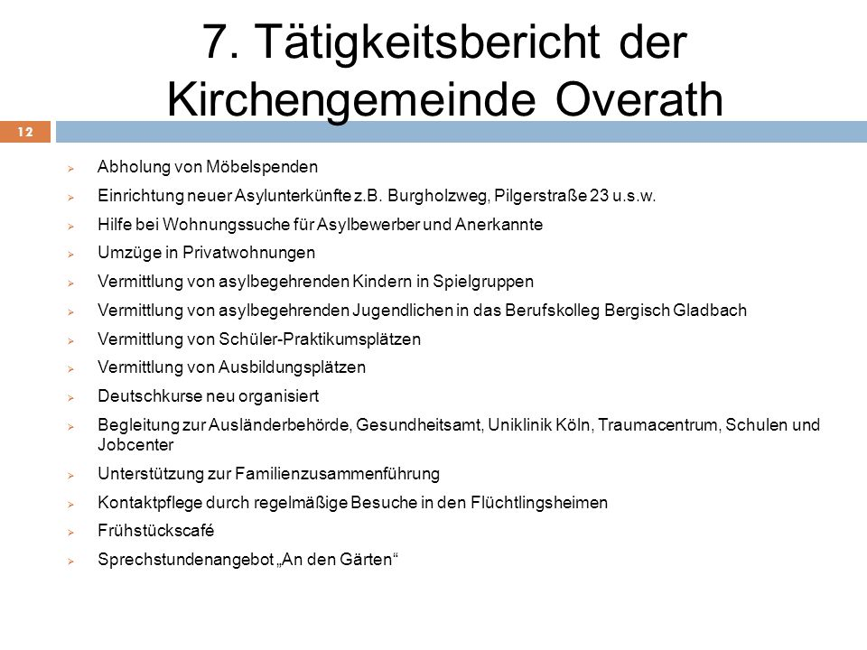 7. Tätigkeitsbericht der Kirchengemeinde Overath 12  Abholung von Möbelspenden  Einrichtung neuer Asylunterkünfte z.B. Burgholzweg, Pilgerstraße 23