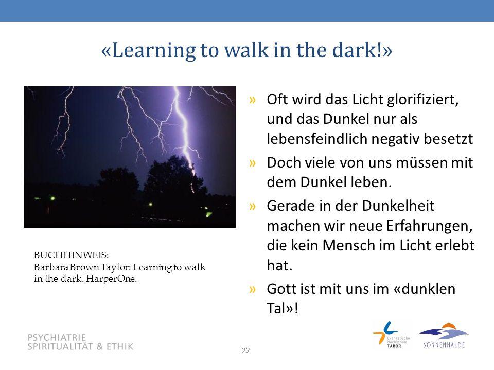 22 «Learning to walk in the dark!» »Oft wird das Licht glorifiziert, und das Dunkel nur als lebensfeindlich negativ besetzt »Doch viele von uns müssen mit dem Dunkel leben.