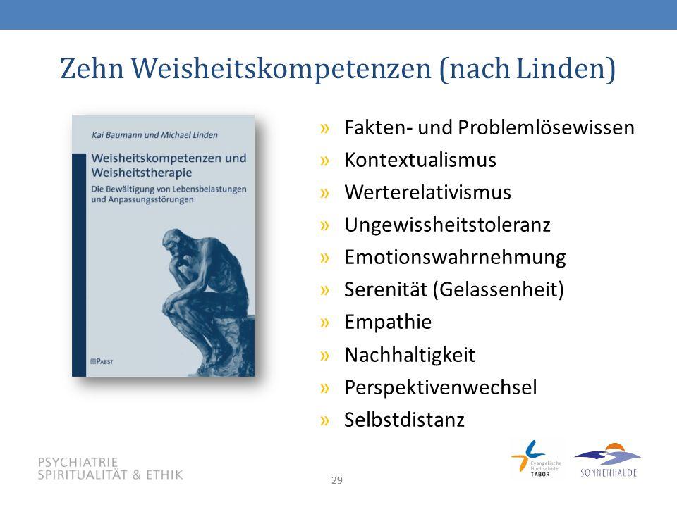 29 Zehn Weisheitskompetenzen (nach Linden) »Fakten- und Problemlösewissen »Kontextualismus »Werterelativismus »Ungewissheitstoleranz »Emotionswahrnehmung »Serenität (Gelassenheit) »Empathie »Nachhaltigkeit »Perspektivenwechsel »Selbstdistanz