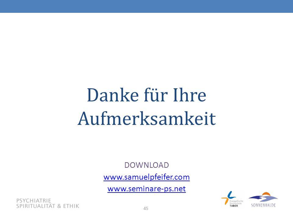 45 Danke für Ihre Aufmerksamkeit DOWNLOAD www.samuelpfeifer.com www.seminare-ps.net