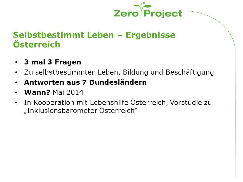 Selbstbestimmt Leben – Ergebnisse Österreich 3 mal 3 Fragen Zu selbstbestimmten Leben, Bildung und Beschäftigung Antworten aus 7 Bundesländern Wann.