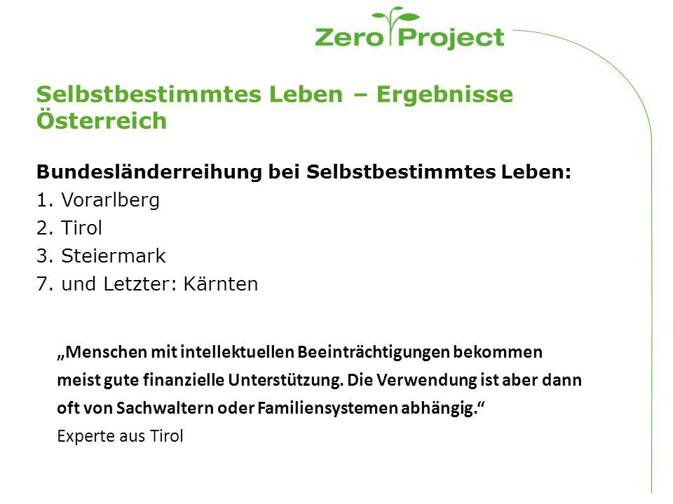 Selbstbestimmtes Leben – Ergebnisse Österreich Bundesländerreihung bei Selbstbestimmtes Leben: 1.