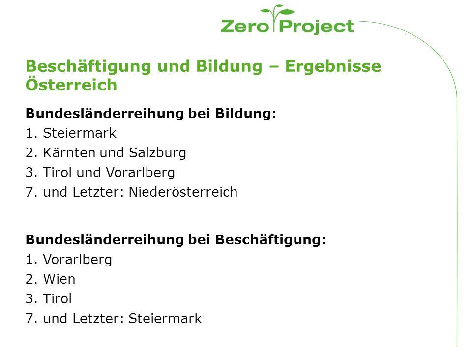 Beschäftigung und Bildung – Ergebnisse Österreich Bundesländerreihung bei Bildung: 1.