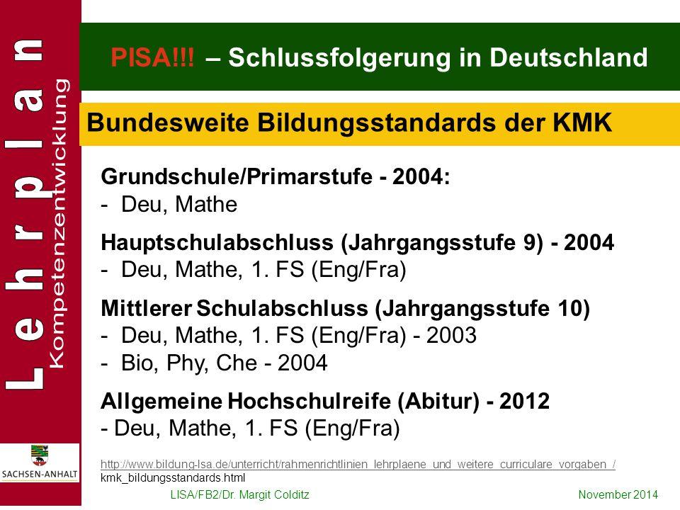 LISA/FB2/Dr. Margit ColditzNovember 2014 PISA!!! – Schlussfolgerung in Deutschland Grundschule/Primarstufe - 2004: - Deu, Mathe Hauptschulabschluss (J