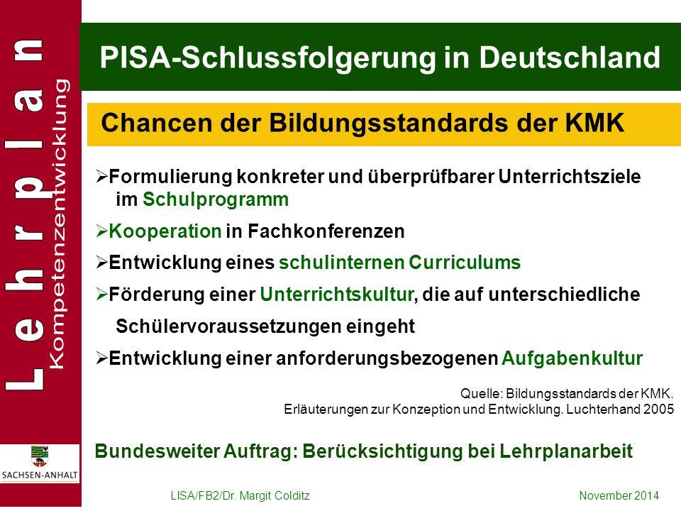 LISA/FB2/Dr. Margit ColditzNovember 2014 PISA-Schlussfolgerung in Deutschland  Formulierung konkreter und überprüfbarer Unterrichtsziele im Schulprog