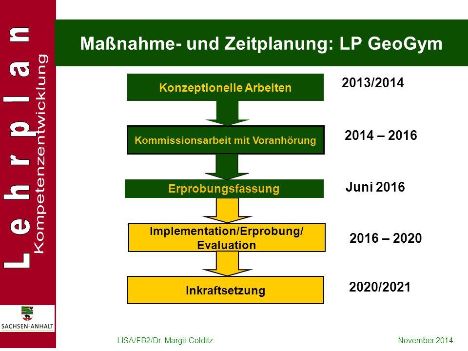 LISA/FB2/Dr. Margit ColditzNovember 2014 Maßnahme- und Zeitplanung: LP GeoGym Konzeptionelle Arbeiten Kommissionsarbeit mit Voranhörung 2013/2014 2014