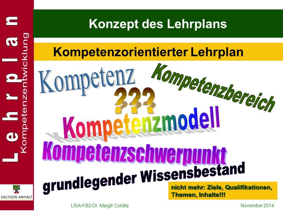 LISA/FB2/Dr. Margit ColditzNovember 2014 Konzept des Lehrplans Kompetenzorientierter Lehrplan nicht mehr: Ziele, Qualifikationen, Themen, Inhalte!!!