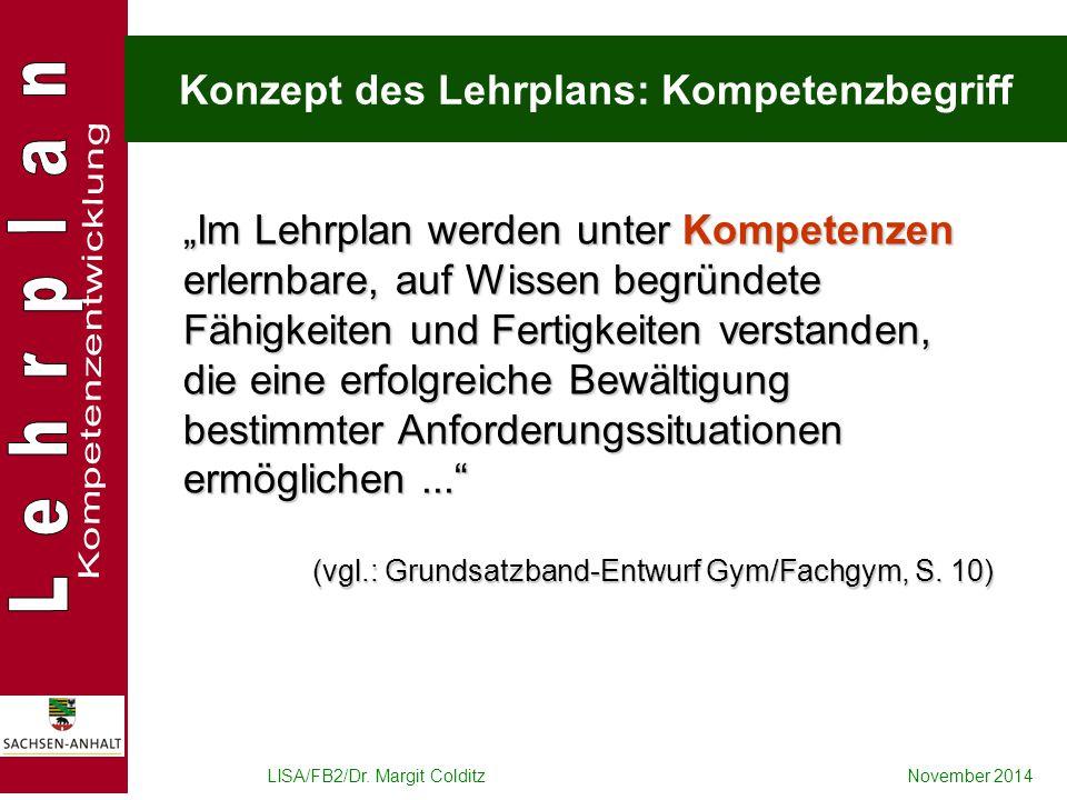 """LISA/FB2/Dr. Margit ColditzNovember 2014 Konzept des Lehrplans: Kompetenzbegriff """"Im Lehrplan werden unter Kompetenzen erlernbare, auf Wissen begründe"""