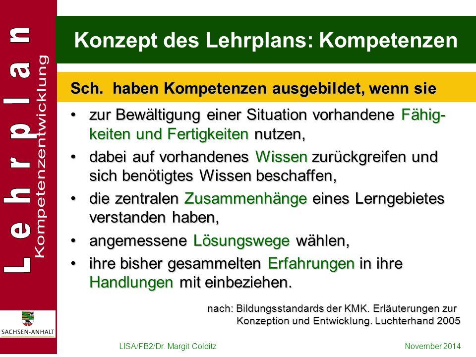 LISA/FB2/Dr. Margit ColditzNovember 2014 Konzept des Lehrplans: Kompetenzen zur Bewältigung einer Situation vorhandene Fähig- keiten und Fertigkeiten
