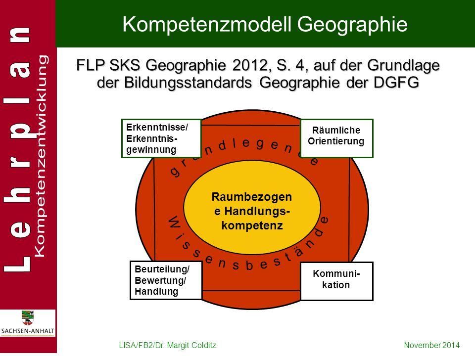 LISA/FB2/Dr. Margit ColditzNovember 2014 Raumbezogen e Handlungs- kompetenz Erkenntnisse/ Erkenntnis- gewinnung Beurteilung/ Bewertung/ Handlung Räuml