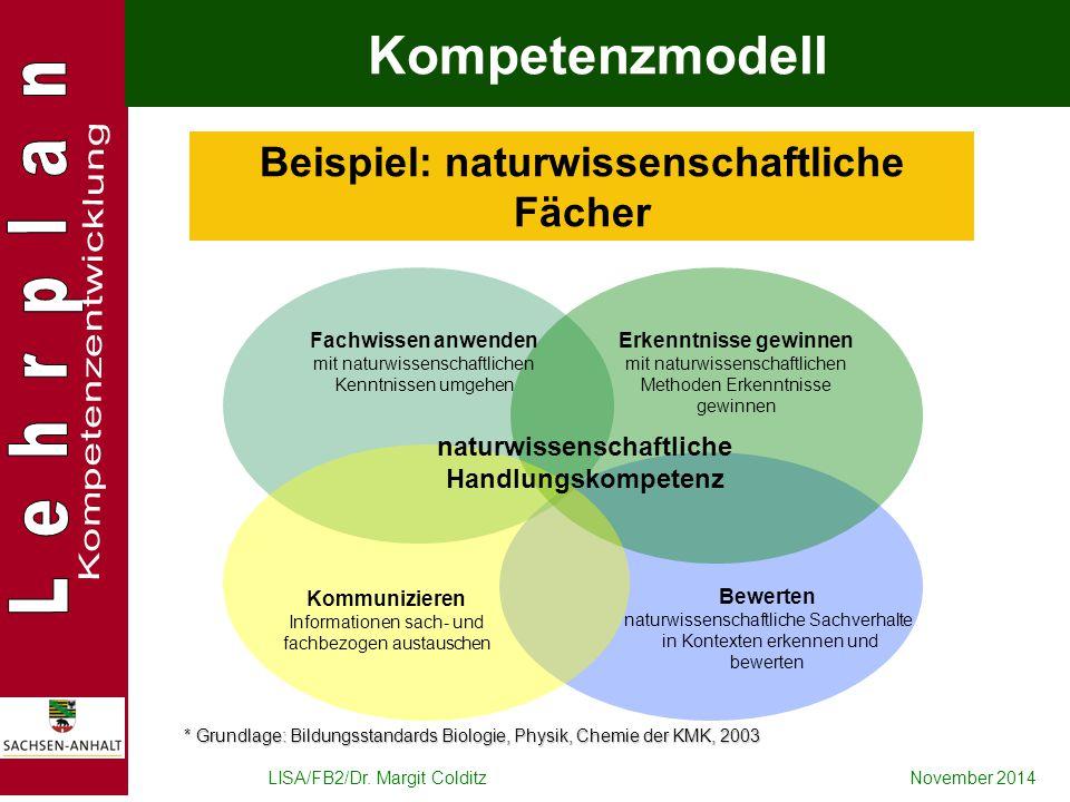 LISA/FB2/Dr. Margit ColditzNovember 2014 Beispiel: naturwissenschaftliche Fächer * Grundlage: Bildungsstandards Biologie, Physik, Chemie der KMK, 2003