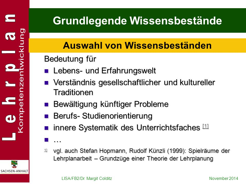 LISA/FB2/Dr. Margit ColditzNovember 2014 Grundlegende Wissensbestände Bedeutung für Lebens- und Erfahrungswelt Lebens- und Erfahrungswelt Verständnis