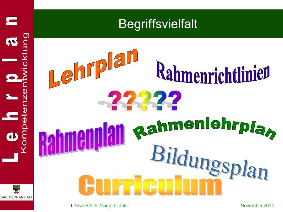 LISA/FB2/Dr. Margit ColditzNovember 2014 Begriffsvielfalt