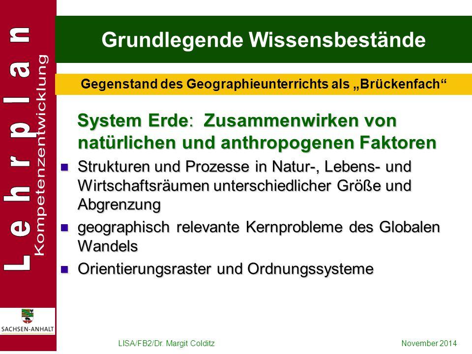 LISA/FB2/Dr. Margit ColditzNovember 2014 Grundlegende Wissensbestände System Erde: Zusammenwirken von natürlichen und anthropogenen Faktoren System Er