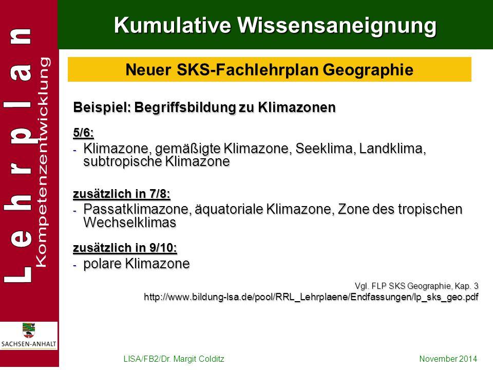 LISA/FB2/Dr. Margit ColditzNovember 2014 Kumulative Wissensaneignung Beispiel: Begriffsbildung zu Klimazonen 5/6: - Klimazone, gemäßigte Klimazone, Se