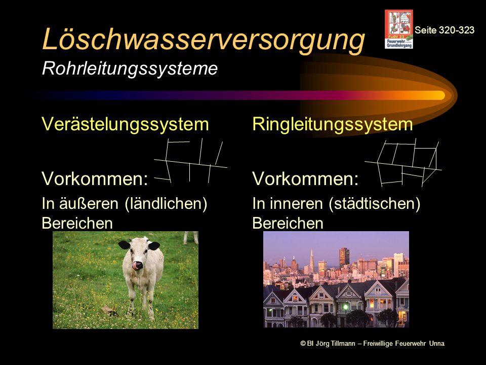© BI Jörg Tillmann – Freiwillige Feuerwehr Unna Löschwasserversorgung Rohrleitungssysteme Verästelungssystem Vorkommen: In äußeren (ländlichen) Bereic