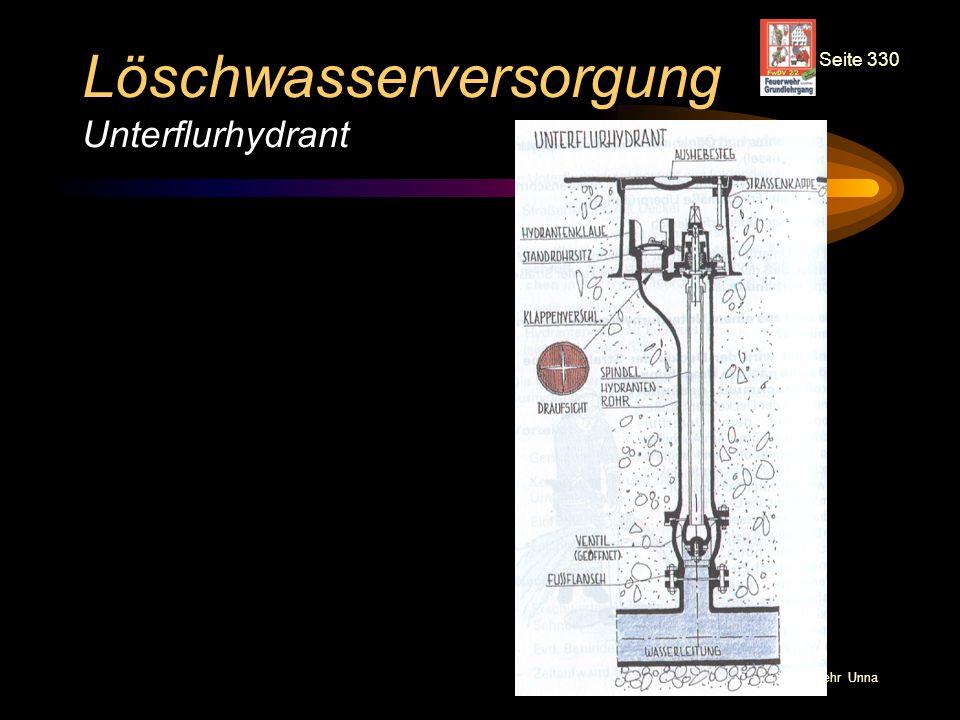 © BI Jörg Tillmann – Freiwillige Feuerwehr Unna Löschwasserversorgung Unterflurhydrant Seite 330