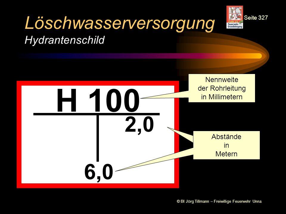 © BI Jörg Tillmann – Freiwillige Feuerwehr Unna Löschwasserversorgung Hydrantenschild H 100 6,0 2,0 Nennweite der Rohrleitung in Millimetern Abstände
