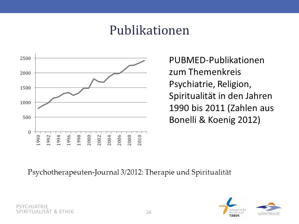 26 Publikationen PUBMED-Publikationen zum Themenkreis Psychiatrie, Religion, Spiritualität in den Jahren 1990 bis 2011 (Zahlen aus Bonelli & Koenig 20
