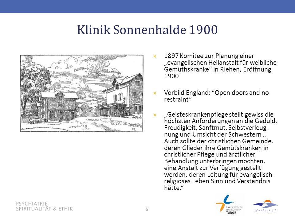 """6 Klinik Sonnenhalde 1900 »1897 Komitee zur Planung einer """"evangelischen Heilanstalt für weibliche Gemüthskranke"""" in Riehen, Eröffnung 1900 »Vorbild E"""