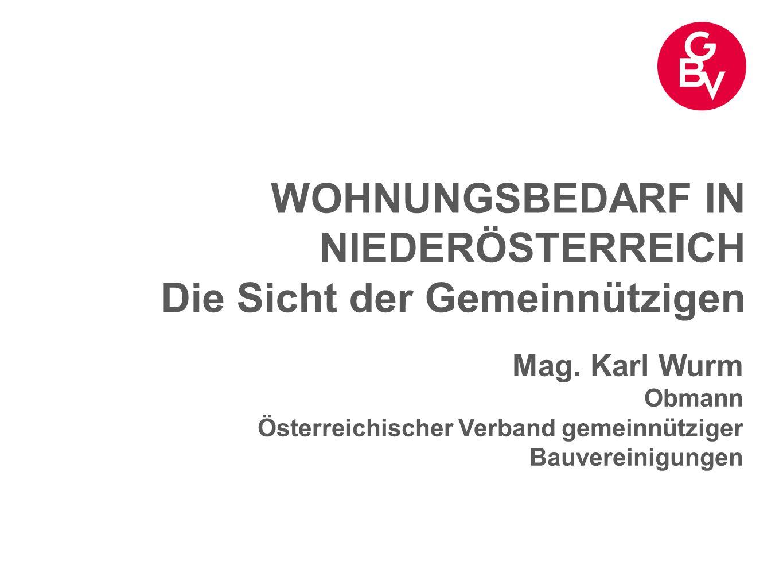 WOHNUNGSBEDARF IN NIEDERÖSTERREICH Die Sicht der Gemeinnützigen Mag. Karl Wurm Obmann Österreichischer Verband gemeinnütziger Bauvereinigungen