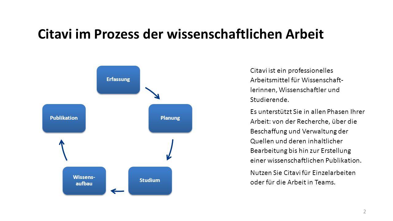 Die Literaturverwaltung Links die Navigation, in der Mitte die Bearbeitung und rechts die Vorschau auf verknüpfte Dokumente oder Webseiten.