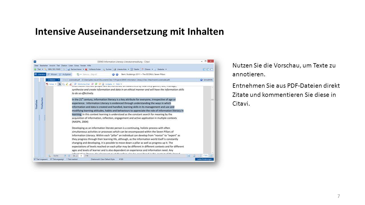 Intensive Auseinandersetzung mit Inhalten Nutzen Sie die Vorschau, um Texte zu annotieren.