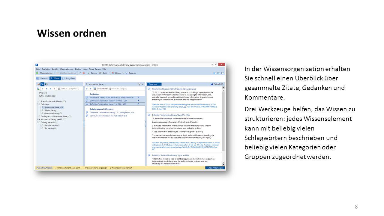 Publizieren Mit dem Word Add-In fügen Sie Referenzen und Zitate in Ihr Dokument ein.