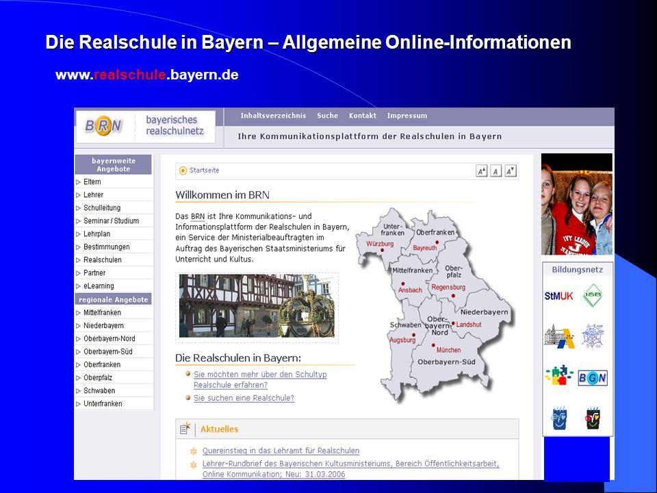 www.realschule.bayern.de Die Realschule in Bayern – Allgemeine Online-Informationen