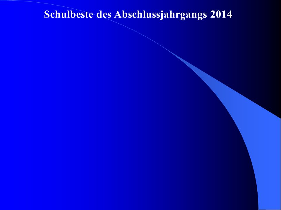 Schulbeste des Abschlussjahrgangs 2014